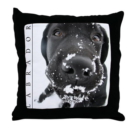 Throw Pillow Movie Scene : Black Lab Throw Pillow - Wintry Scene w/ Labrador by custom_postage