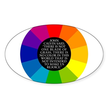 John Calvin-Color Oval Sticker