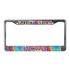 Peace Love Stimulus License Plate Frame