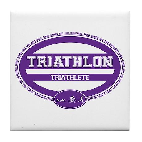 Triathlon Oval - Women's Triathlete Tile Coaster