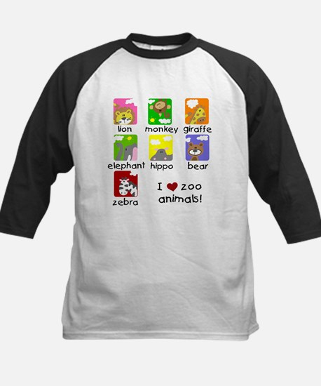 I Love Zoo Animals Kids Baseball Jersey