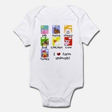 I Love Farm Animals Infant Bodysuit