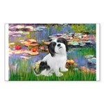 Lilies / Lhasa Apso #2 Sticker (Rectangle)