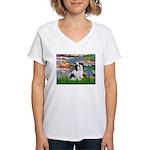 Lilies / Lhasa Apso #2 Women's V-Neck T-Shirt