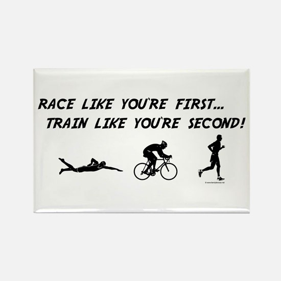 Race Like Your First Triathlon Rectangle Magnet