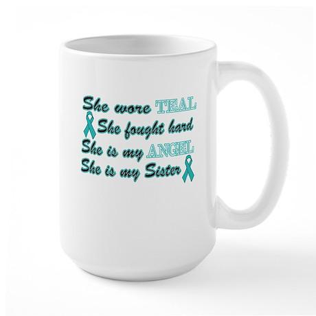 She is my Sister Angel Teal Large Mug