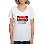 Danger Sign Women's V-Neck T-Shirt