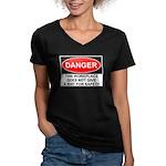 Danger Sign Women's V-Neck Dark T-Shirt