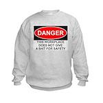 Danger Sign Kids Sweatshirt