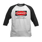 Danger Sign Kids Baseball Jersey
