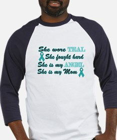 She is Mom Angel Teal Baseball Jersey