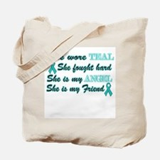 She is my Friend Teal Angel Tote Bag