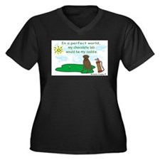 chocolate lab Women's Plus Size V-Neck Dark T-Shir