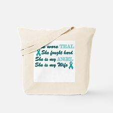 She is my Wife Teal Angel Tote Bag