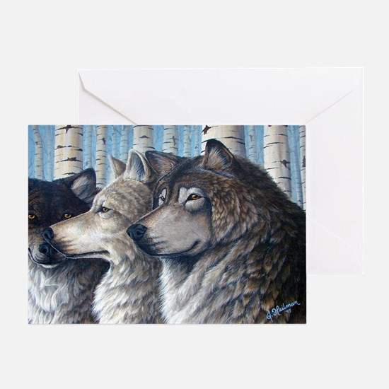 Three Wolves Greeting Card