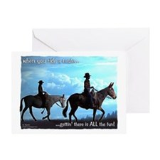 Trail Riding Mules Greeting Card
