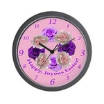 Circle of Roses, Happy Easter Wall Clock