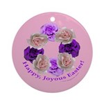 Circle of Roses, Happy Easter Ornament (Round)