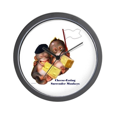 Cheese Eating Surrender Monkeys I Wall Clock