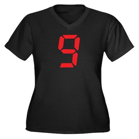 9 nine red alarm clock number Women's Plus Size V-