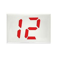 12 twelve red alarm clock num Rectangle Magnet