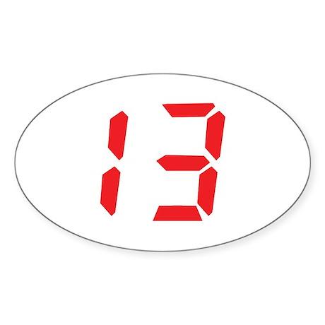 13 thirteen red alarm clock n Oval Sticker