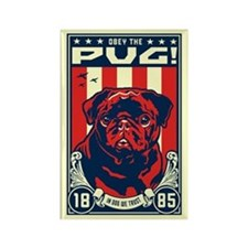 Obey the (Black Pug) Rectangle Magnet