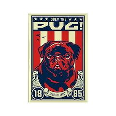Obey the (Black Pug) Rectangle Magnet