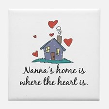 Nanna's Home is Where the Heart is Tile Coaster