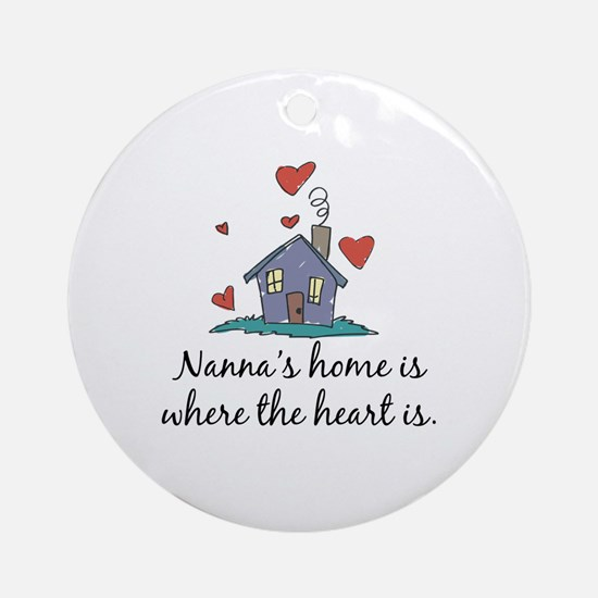 Nanna's Home is Where the Heart is Ornament (Round