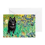 Irises / Schipperke #2 Greeting Card