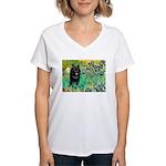 Irises / Schipperke #2 Women's V-Neck T-Shirt
