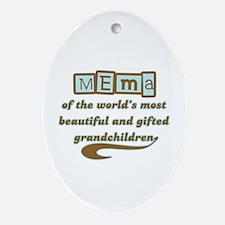 Mema of Gifted Grandchildren Oval Ornament