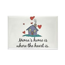 Mema's Home is Where the Heart Is Rectangle Magnet