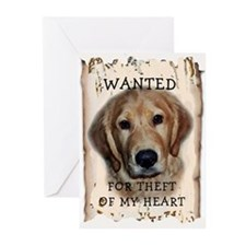 Golden Retriever Wanted Poste Greeting Cards (Pack