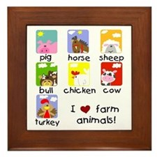 I Love Farm Animals Framed Tile