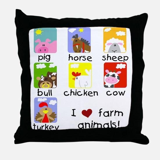 I Love Farm Animals Throw Pillow