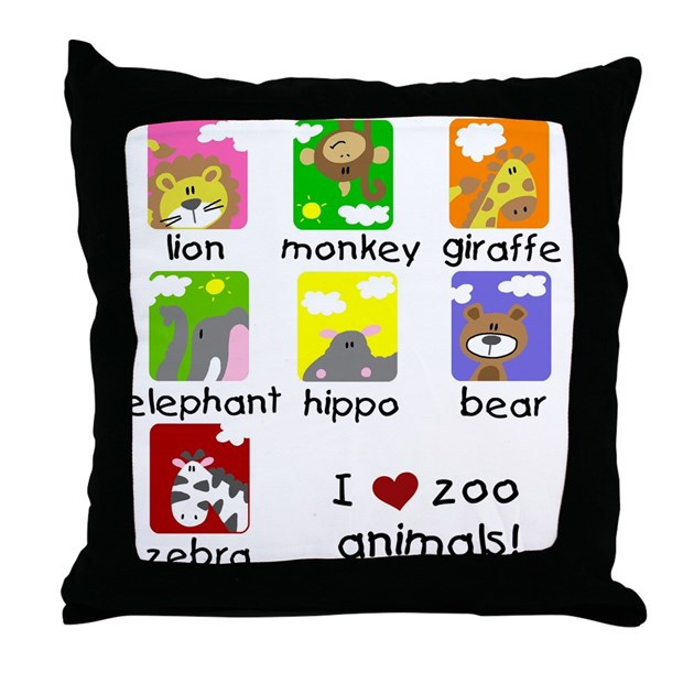 Zoo Animal Pillows : I Love Zoo Animals Throw Pillow by peacockcards