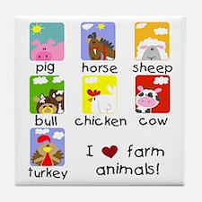 I Love Farm Animals Tile Coaster