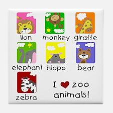 I Love Zoo Animals Tile Coaster