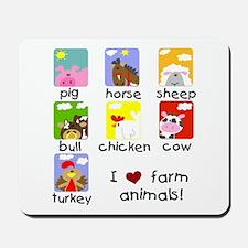 I Love Farm Animals Mousepad