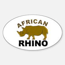 African Rhino Oval Decal