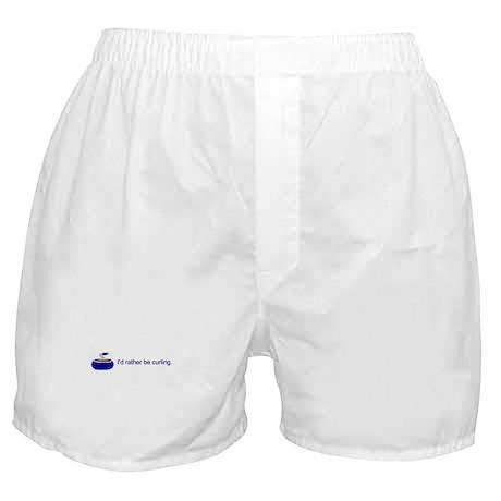 """I'd rather be curling"" Boxer Shorts"