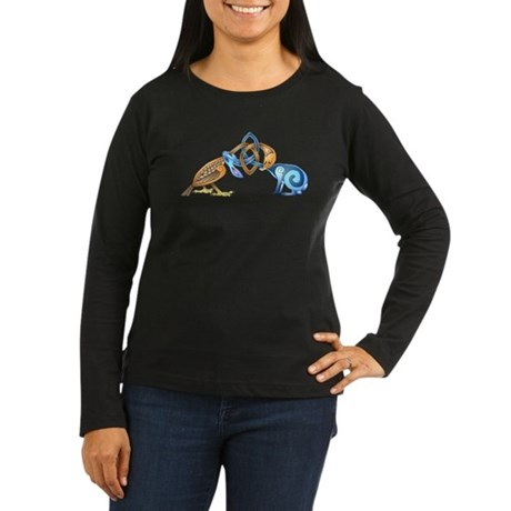 Celtic Bird & Rab Women's Long Sleeve Dark T-Shirt