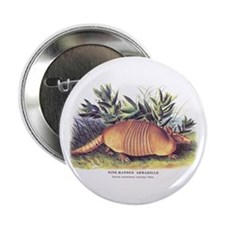 "Audubon Armadillo Animal 2.25"" Button"
