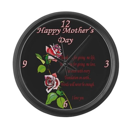 Happy Mother's Day Poem Large Wall Clock