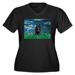 Lilies / Schipperke #4 Women's Plus Size V-Neck Da