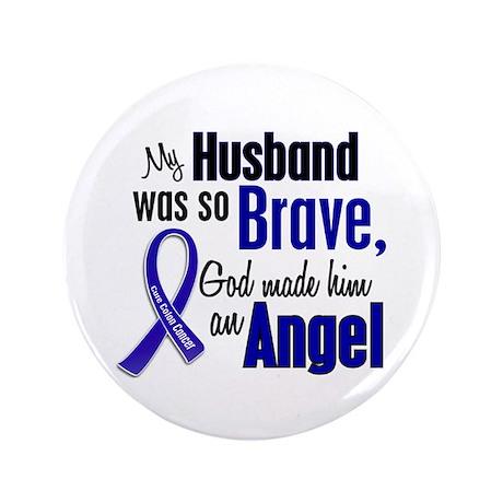 "Angel 1 HUSBAND Colon Cancer 3.5"" Button"