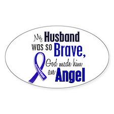 Angel 1 HUSBAND Colon Cancer Oval Decal