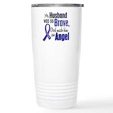 Angel 1 HUSBAND Colon Cancer Travel Mug